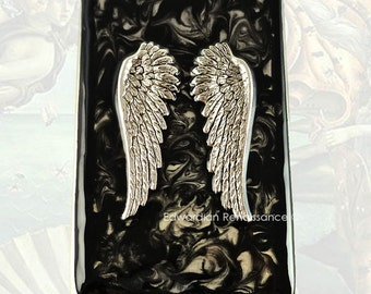 Angel Wings Business Card Case Hand Painted Ink Swirl Enamel Neo Victorian Vertical Metal Card Case Custom Colors and Personalized Options