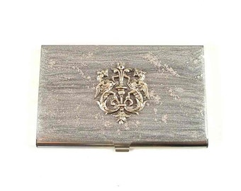 Dragon Crest Business Card Case  Inlaid in Hand Painted Enamel Silver Coats of Arms Metal Wallet Custom Colors and Personalized Options