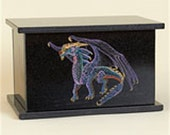 Cremation Urn Granite Dragon Hand Etched and Painted