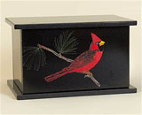 Hand Etched Cremation Urn  Black Granite Cardinal
