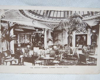 "Antique Postcard of ""The Winter Garden Strand Palace Hotel"" in London England Postmarked Jan. 15, 1915 from London to Chas.,SC Epsteam CHP"