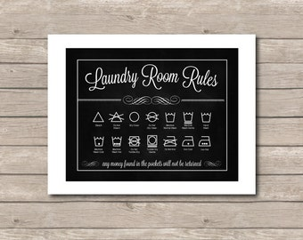 Laundry Room Printable, Chalkboard Art Printable, Laundry Room Decor 8x10