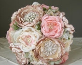 Fabric flower brooch wedding bouquet . Custom colors . Vintage couture look with peony rose flowers