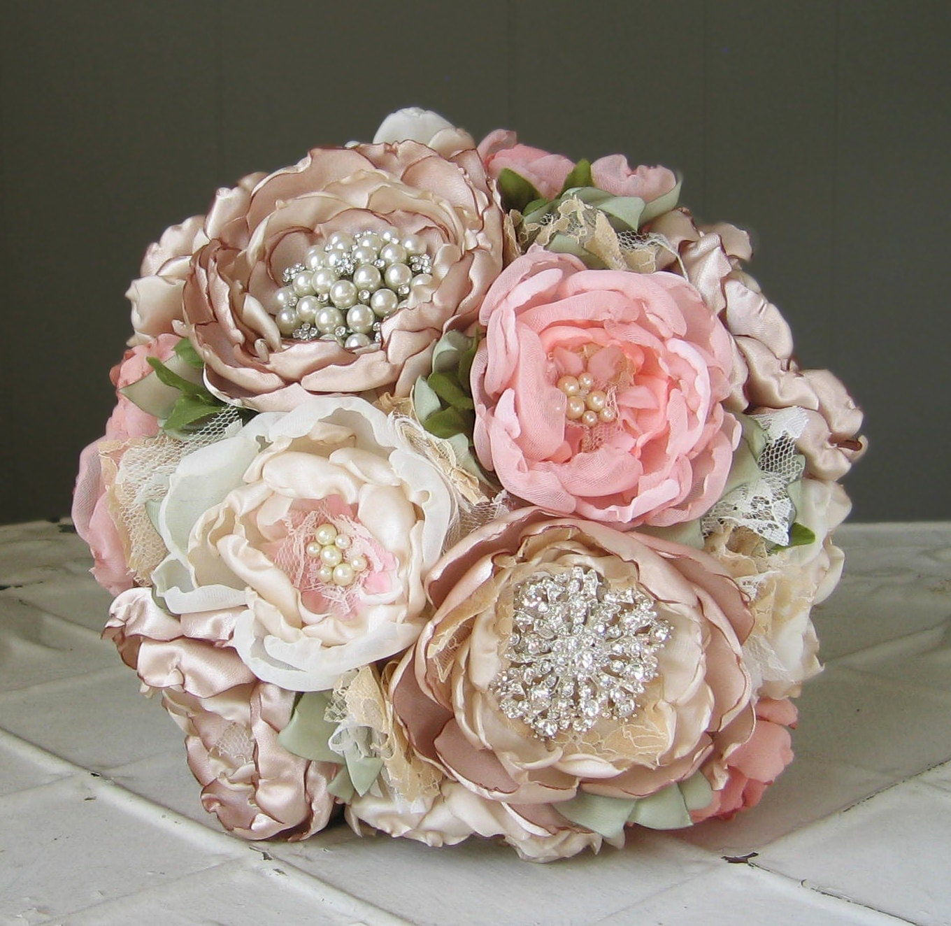 Fabric Flower Brooch Wedding Bouquet Custom Colors By Suzyuyechi
