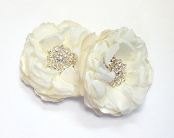 Ivory Flower Hair Pins, Shoe Clips, Brooch Pin - Wedding Satin Chiffon Flowers for a Bride Bridesmaid Gift,  Special Occasion - Ana