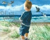 "Toddler Boy, Beach, Seashore, Seagulls, Blue Shirt, Shorts, Children Watercolor Painting Print, Wall Art, Home Decor, ""Watching the Sunset"""