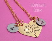 Best F-ing Friends Hand Stamped Broken Heart with Initial Charms Necklace Set- In Brass, Copper, or Aluminum- Mature Content