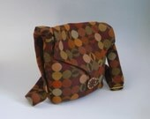 Small Shoulder Bag, Brown Retro Circle Print,