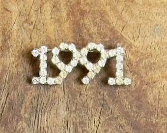 Vintage 1991 Rhinestone Pin! 90s Birthday Present Pave Year Pin!