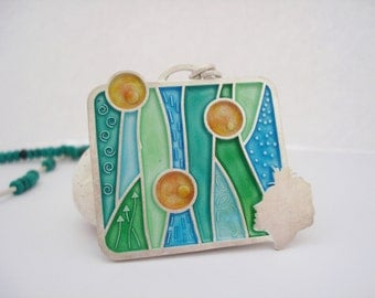 Silver enamel necklace with turquoise gemstone beads champlave pendant