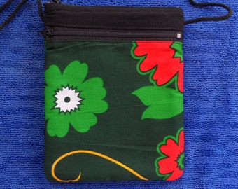handmade purse A04 Green Butterfly Flower Foral Tribal boho Hil Tribe Cotton 2 layers