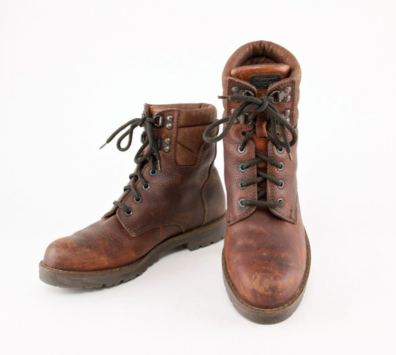 Rustic Leather Hiking Boots 80s 90s Worn In Ankle Work Boot