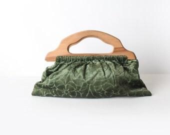 Vintage wood handled green fabric knitting bag