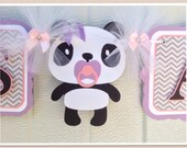Panda baby shower banner, its a girl banner, grey chevron, pink, and lavender