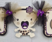 Leopard print Baby shower banner, its a girl banner, leopard print, purple and black