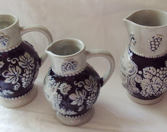 Instant Collection 3 Vintage German Stoneware Wine Jugs Krug Grapes Grapevine Blue and Grey Jug Fathers Day Present