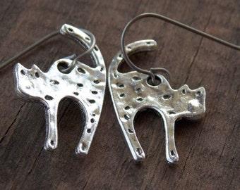 Titanium Earrings, Halloween Cats, Silver Cat Earrings, Hypoallergenic Titanium Ear Wires