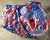 SassyCloth one size pocket diaper with flags forever toss PUL print. Made to order.