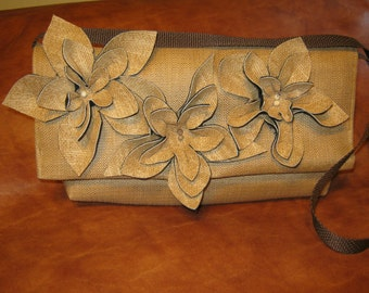 Upcycled Grasscloth Clutch or Shoulderbag