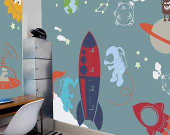Outer Space Playroom Decal for Kids  - Nursery Wall Decal, Kids Wall Decor