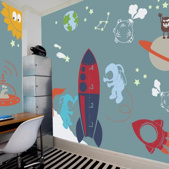 Outer space playroom decal for kids nursery by pinknbluebaby for Outer space childrens decor