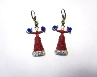 Frida Kahlo Earrings Red Dress Day of the Dead Jewelry Purple Roses