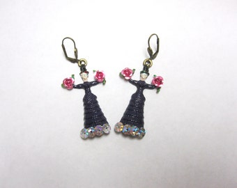 Frida Kahlo Earrings Dark Purple Dress Day of the Dead Jewelry Pink Roses