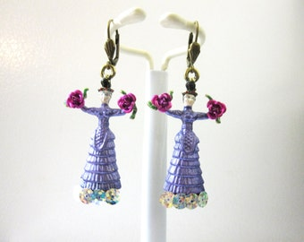 Frida Kahlo Earrings Lavender Purple Dress Day of the Dead Jewelry Hot Pink Roses