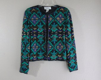 vintage teal and black sparkle beaded jacket- hipster couture