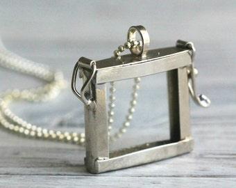 Silver Rectangle Glass Keepsake Necklace with Faceted Silver Ball Chain