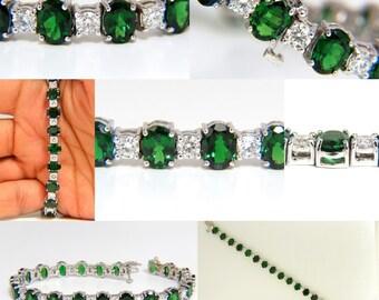 20.68CT Natural Tsavorite Diamonds Bracelet 14KT Vivid Greens Tennis