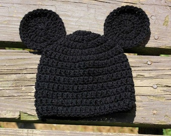 Crochet Basic Mouse Hat - Newborn, Infant, and Toddler