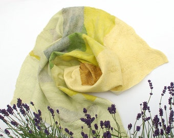 Silk baby blanket Nuno felt silk and merino wool - Plant dyed green lavender yellow Summer blanket