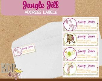 Carter's Jungle Jill Address Labels Digital Download OR Printed (40 labels-pricing details below)
