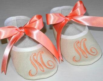 Baby Shoes- Personalized Baby Shoes- Personalized Baby Booties- Monogram Baby Booties- Baby Christening Keepsake Gift- Newborn Keepsake Gift