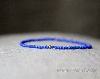 venice blue gold mens bracelet - mens small bead bracelet - mens blue with gold vermeil bead bracelet