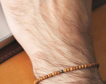 emerald sand bracelet for men - mens small bead sandalwood emerald bracelet - men wood bead bracelet with green emerald and goldplated beads