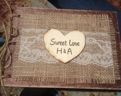 Wooden Burlap And Lace Guest Book Rustic Woodland Farmhouse Country Cottage Chic Wedding