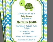 Turtle Invitation Printable or Printed with FREE SHIPPING - Birthday or Baby Shower - One Special Turtle Collection