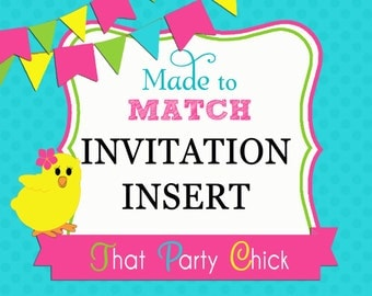 Made to Match Invitation Insert or Reply Card Printable by That Party Chick