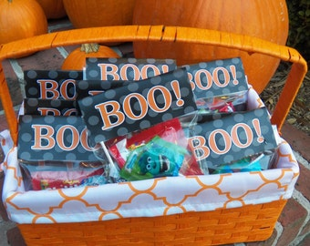 50% OFF SALE - Halloween Boo Tent Style Bag Toppers Printable - Instant Download - Halloween Party