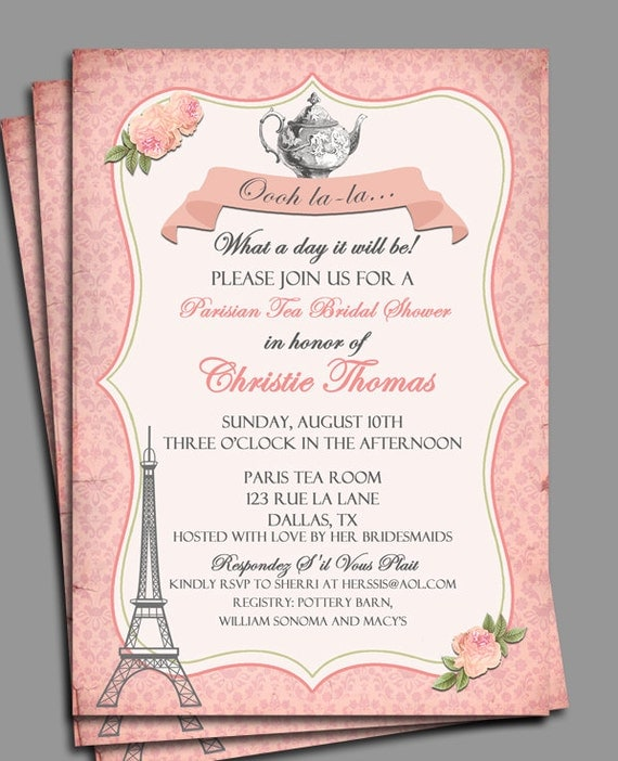 Vintage Parisian Tea Party Invitation Printable or Printed