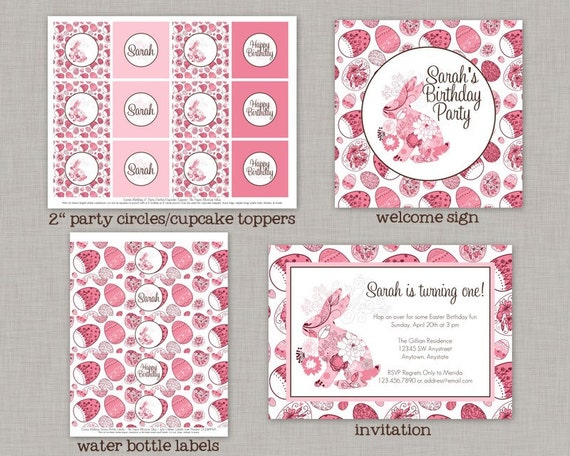 Easter Birthday Decorations Party Package Girl Printable