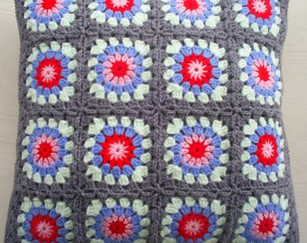 granny square cushion cover / pillow cover in grey edging