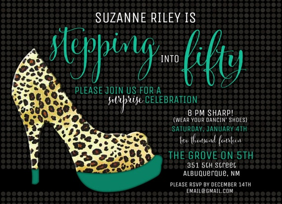 Ladies Fun Leopard Shoe Birthday Invitation DIGITAL FILE  Fashion, Pink, Purple, Turqouise, Lime Green, Milestone Party, High Heel, Animal