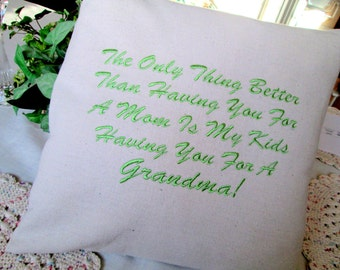 "Grandmother Custom Embroidered Pillow Cover Grandma 12"" Pillow Mom Mother Pillow Sham Custom Embroidery Mother's Day Grandparent's Day"