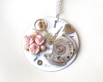 "Victorian Steampunk Necklace ""Early Summer Roses"""