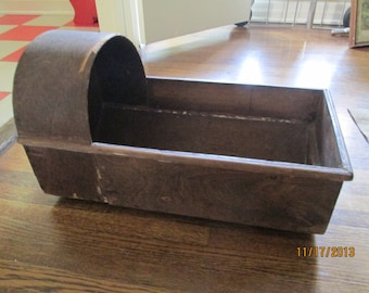 Antique Wooden Cradle / 1940s Doll Primitive Cradle / Photo Prop Store Display