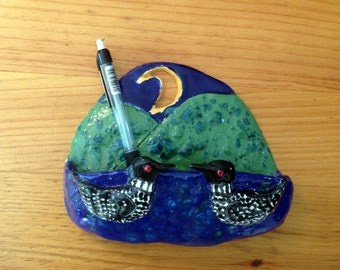 Good Night Loons wall pocket handmade in the US from a lump of clay