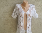 Vintage Sexy Crochet Vest / Tunic / Cardigan White Cotton Dress Short sleeve Women Summer Beach Fashion Retro chic Size L / 12 US / 14 UK